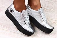 Модные криперы серебристые на чёрной подошве, фото 1