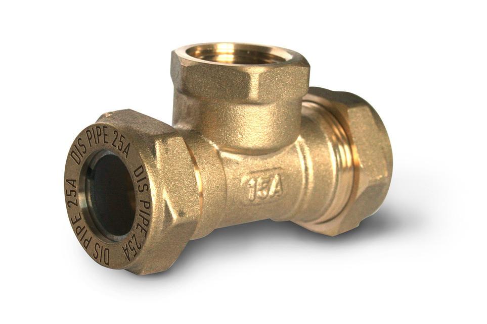 Тройник труба-внутренняя резьба-труба DISPIPE 25х1х25