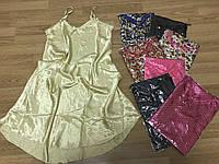 Атласная ночная рубашка с гипюром 46-50