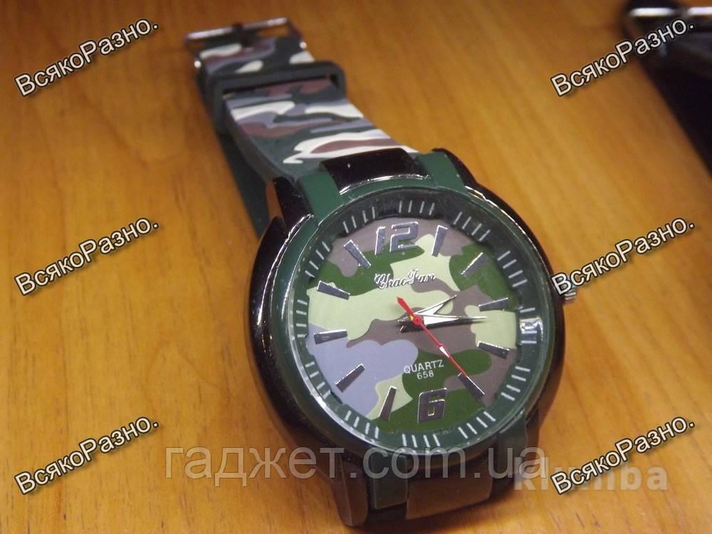 Мужские камуфляжные силиконовые часы.