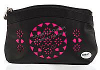 Женская кожаная черная косметичка с розовой перфорацией Swan art. Б/Н маленькая, фото 1