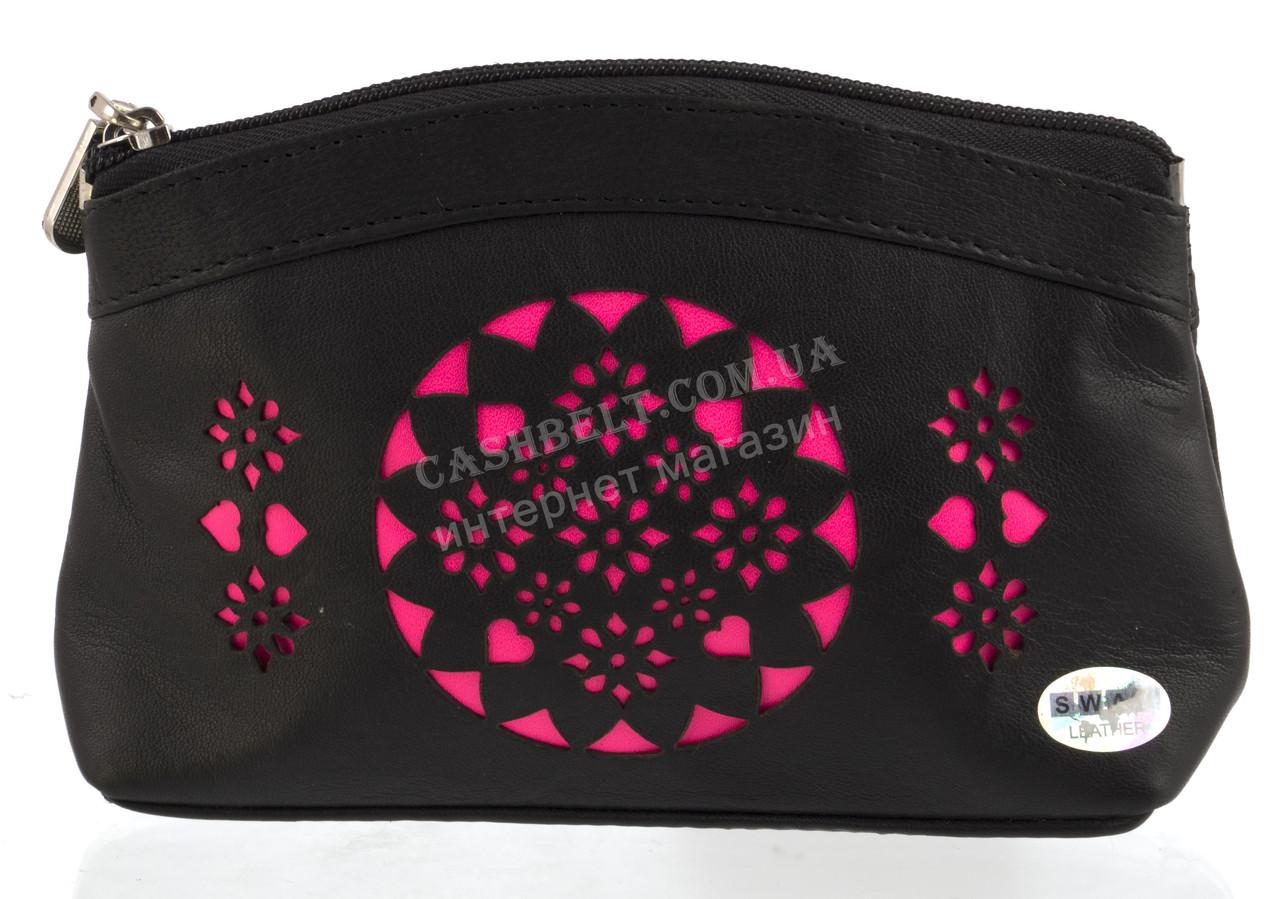 Женская кожаная черная косметичка с розовой перфорацией Swan art. Б/Н маленькая