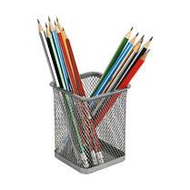 2111-01-A Підставка для ручок квадр 80х80х100мм, мет, чорна, фото 3