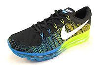 Кроссовки мужские  Nike Flyknit Air Max текстиль, синие с желтым(найк аир макс)(р.44,45)
