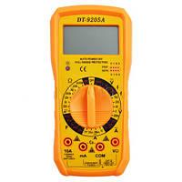 Цифровой мультиметр DT9205A, ЖК-экран 60х30мм, световой/звуковой индикатор, щупы, подставка, 185х88х50мм