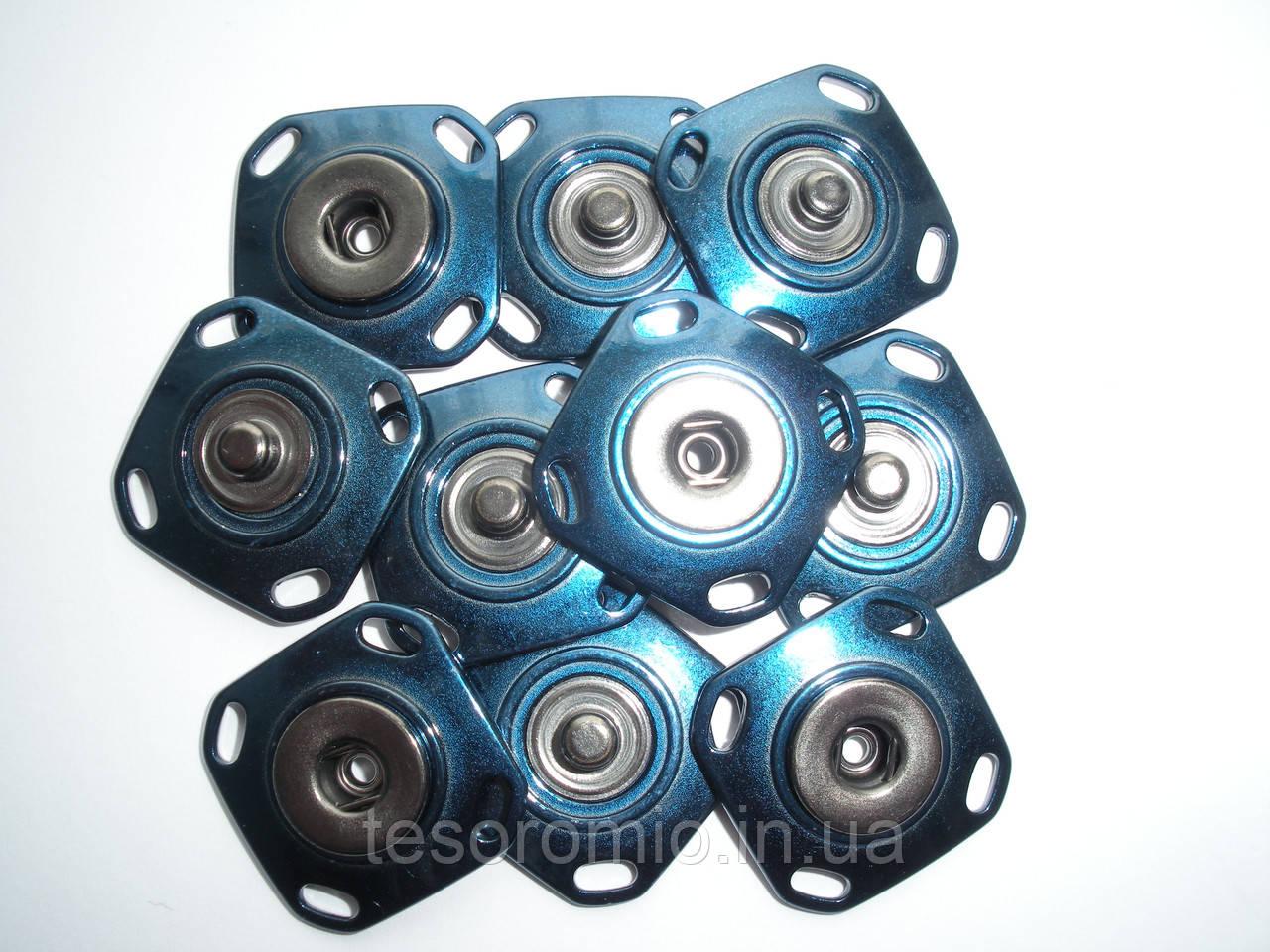 Кнопка пришивная, эмалированная, синяя, 28мм
