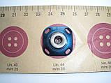 Кнопка пришивная, эмалированная, синяя, 28мм, фото 3