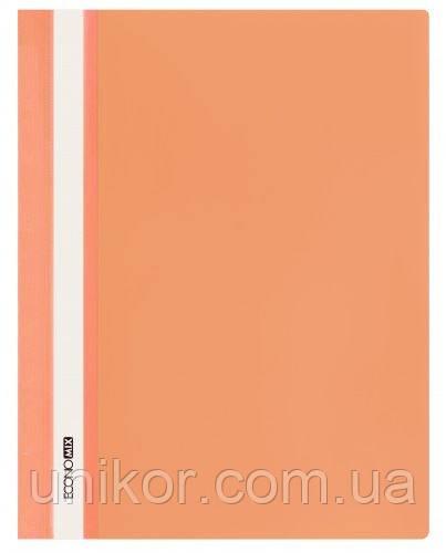 """Скоросшиватель с прозрачным верхом А4 PP """"глянец"""" оранжевый. ECONOMIX"""