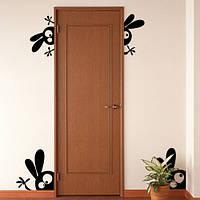 Наклейка виниловая интерьерная Веселые зайцы (пленка самоклейка на стены двери)