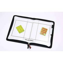 Доска тактическая волейбольная C-5933 (р. 42см x 28,5см, планшет на молнии, фишки, маркер )