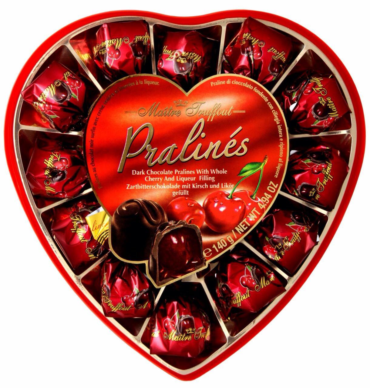 Конфеты Pralines (Пралине вишня с ликером в черном шоколаде) Maitre Truffout Австрия 140г