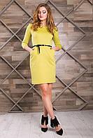 Классическое Деловое Платье с Карманами Оливковое XS-XL