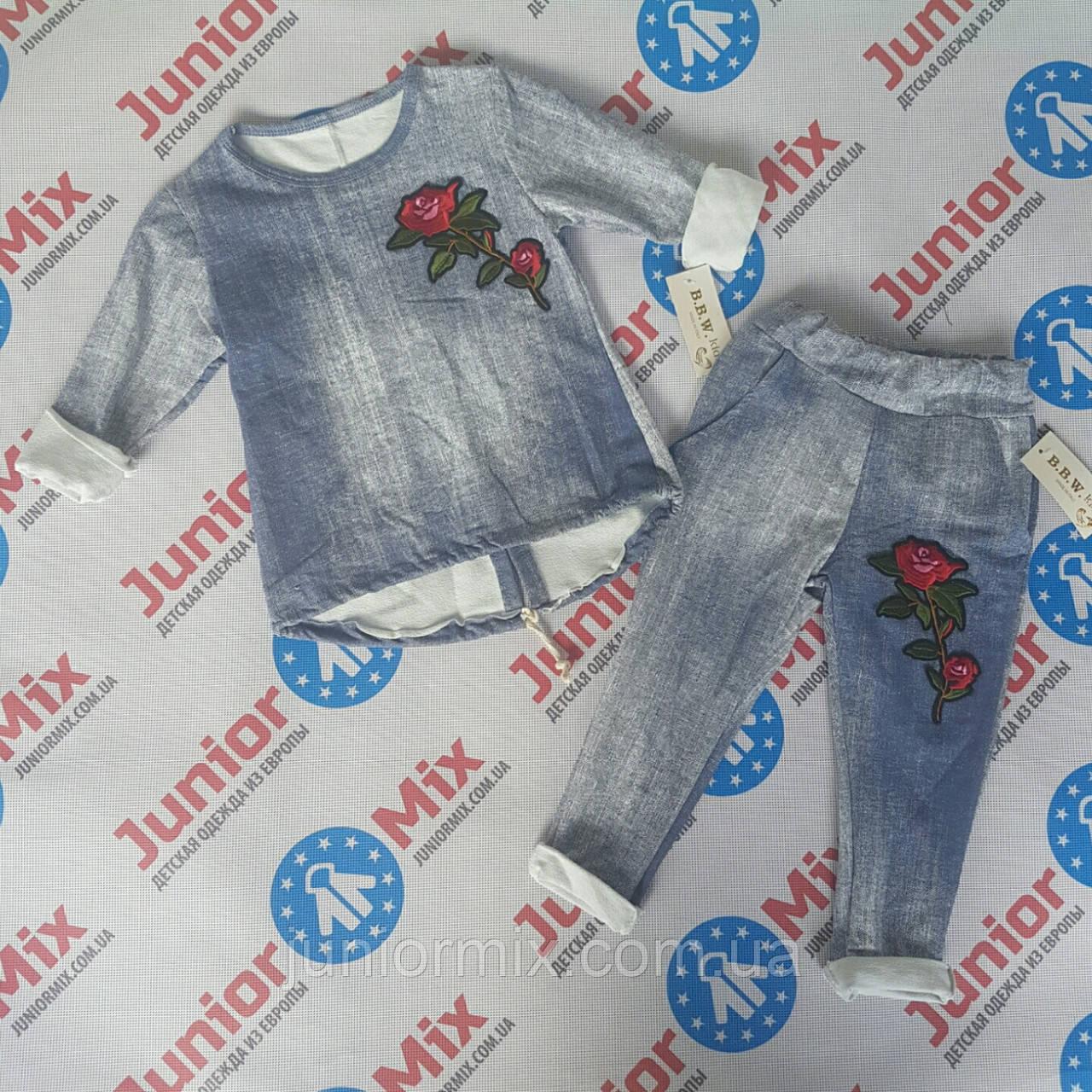 Котонові костюм на дівчинку з вишитою трояндою B. B. W. kids