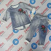 Котонові костюм на дівчинку з вишитою трояндою B. B. W. kids, фото 1