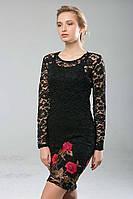 Шикарное платье из гипюра с вышивкой Черное