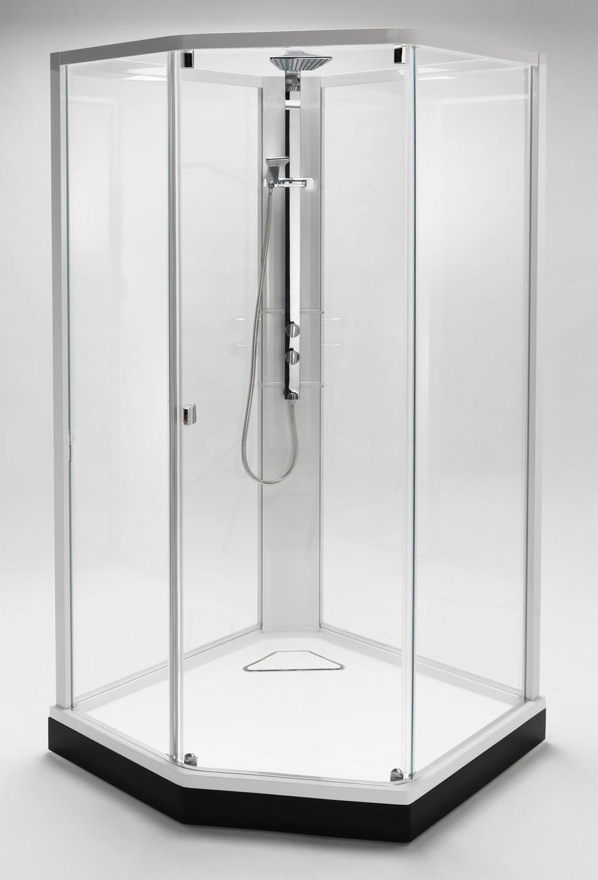 Модель 8-5 (900*900 мм), белый профиль, художественное стекло/узорчатое стекло