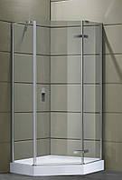 STEFANI душевая кабина пятиугольная 100*100*190 см, без поддона, распашная, стекло прозрачное