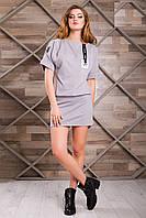 Стильное Платье в Спортивном Стиле Серое XS-2XL