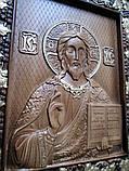 Икона Спасителя резная с позолотой, фото 2