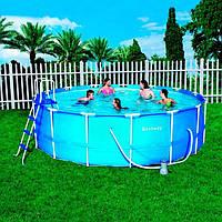 Каркасный бассейн Bestway ,размер 457х122 см,фильтр-насос,лестница,подстилка,тент