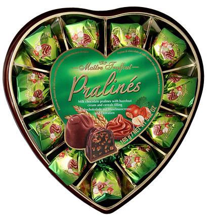 Конфеты Pralines (Пралине фундука с зерновыми сердцами в молочном шоколаде) Maitre Truffout Австрия 165г, фото 2