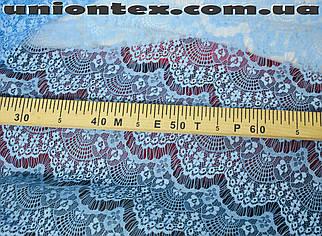 Ткань гипюр реснички тонкий голубой
