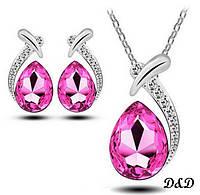 Комплект серьги и кулон позолоченный нежно розовый