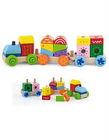 """Конструктор Viga Toys """" Поезд"""", деревянный конструктор, деревянный поезд для детей"""