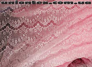 Гипюр стрейчевый реснички (розовый)