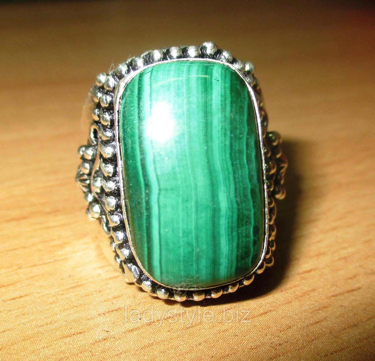 """Восточное кольцо """"Шахерезада"""" с натуральным малахитом, размер 19,2 от студии LadyStyle.Biz"""