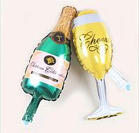 """Набор шариков """"Бутылка Шампанского / Бокал Шампанского""""  Фигура Фольга"""