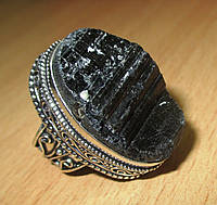 """Крупный серебряный перстень с шерлом """"Скала"""", размер 18  от студии LadyStyle.Biz"""