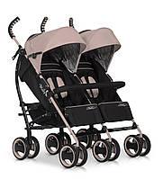 Детская прогулочная коляска-трость для двойни EasyGo Duo Comfort Latte