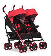 Детская прогулочная коляска-трость для двойни EasyGo Duo Comfort Scarlet