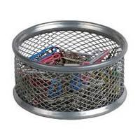 Подставка для скрепок круглая метал., серебрянная