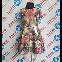 Платье на девочку под пояс с коротким рукавом  Alessia