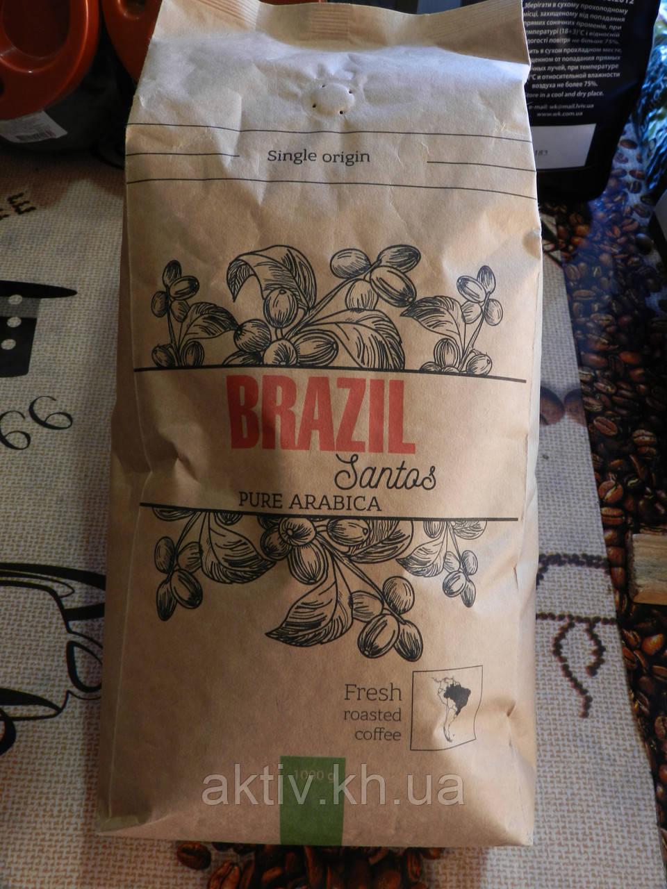 Кофе в зернах бразилия сантос 1кг