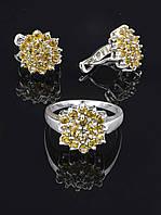 Комплект украшений фианит имитация янтаря Код: 017761 18 размер кольца