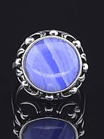 Кольцо с агатом. 029436 Кольцо 19 размера с натуральным камнем Голубой Агат, сапфирин (покрытие серебро), круглая форма 16х16 мм