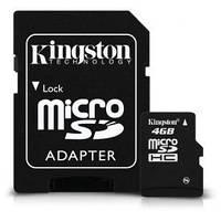 Карта памяти Kingston micro SDHC 4GB class 10+SD