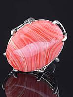 Кольцо с сардониксом. 029411 Кольцо 18 размера с натуральным камнем Сардоникс (покрытие серебро), форма кабашона овальная 25х20 мм, латунное