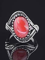 Кольцо с сардониксом. 029373 Кольцо 19 размера с натуральным камнем Сардоникс, овальной формы, оправа классика