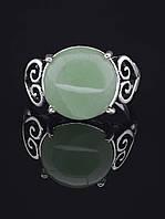 Кольцо нефрит (с нефритом). 029415 Кольцо 19 размера с натуральным камнем Нефрит (в серебре),  круглая форма камня, 15х15 пропорции