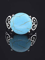 Кольцо с бирюзой. 029412 Кольцо 18 размера с натуральным камнем Бирюза (покрытие серебро), круглая форма 15х15 мм
