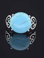 Кольцо с бирюзой. 029412 Кольцо 19 размера с натуральным камнем Бирюза размер камня 15х15 мм, (покрытие серебро)