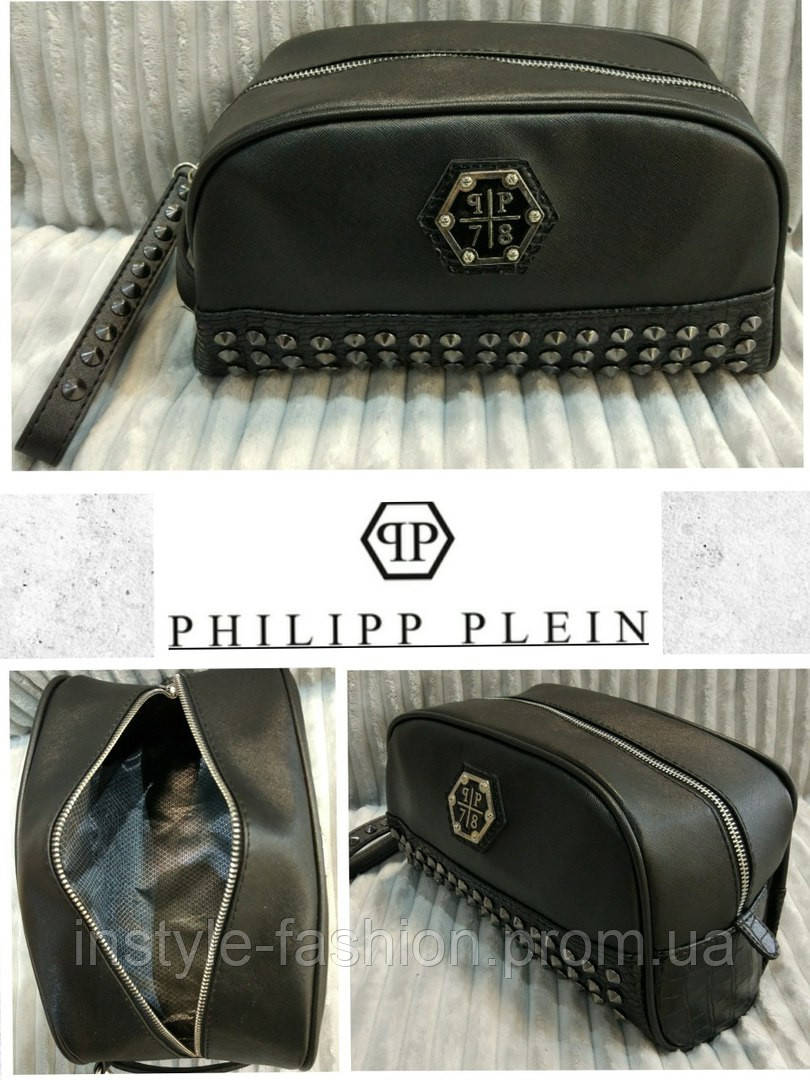f1271159f4e3 ... Косметичка Philipp Plein Филипп Плеин черная эко-кожа, фото 3