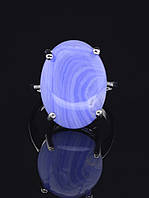 Кольцо с агатом. 029430 Кольцо 19 размера с натуральным камнем Голубой Агат, сапфирин, овальная форма, 4 лапки, 20х15 камень
