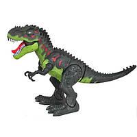 Динозавр Тиранозавр ходит, музыкальный со светом, в коробке (зелёный)