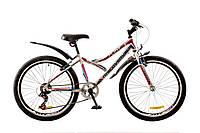 """Велосипед 24"""" Discovery FLINT  14G  Vbr  рама-14"""" St бело-сине-розовый (м)  с крылом Pl 2018"""