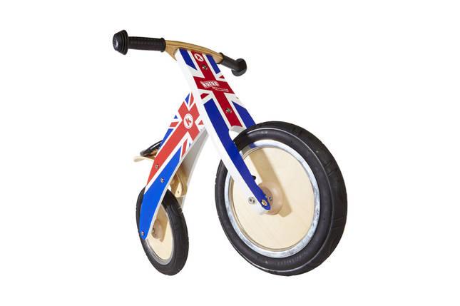 """Беговел 12"""" Kiddi Moto Kurve деревянный, британский флаг в цветах радуги, фото 2"""